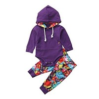 Autumn Winter Newborn Kids Toddler Baby Girl Purple Hoodie Top+ Floral Pants Home Outfit Set Clothes 2PCS Set
