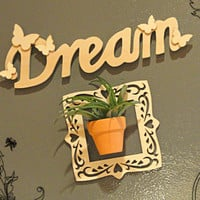 Magnetic Air Plant Refridgerator Art Garden Dream Wood Letter Indoor Garden