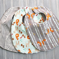 Fox, Deer, Woodland Baby Bib Set - Set of 3 Minky Dot Bibs - Gray and White Woodgrain, Fox, Deer, Woodland on Mint Print, Foxes and Trees