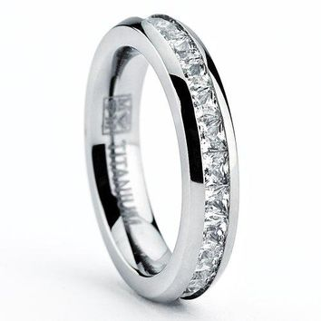Metal Masters Co 3MM High Polish Princess Cut Ladies Eternity Titanium Ring Wedding Band with Cubic Zirconia CZ Size 4 To 9