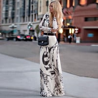 Summer Long Sleeve Women's Fashion Print Ball Gown One Piece Dress = 5893345601