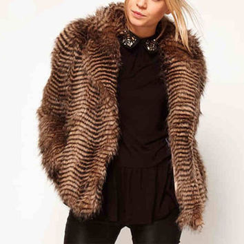 Brown Turn-Down Collar Long Sleeve Faux Fur Coat