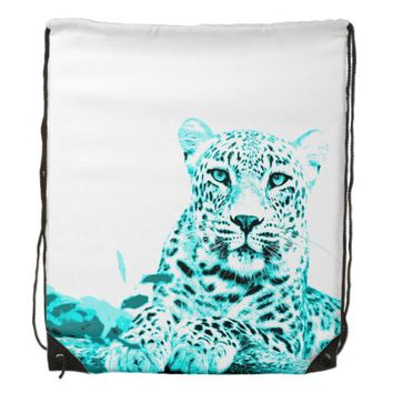 Georgeous Turquoise Leopard on White Background Drawstring Backpacks