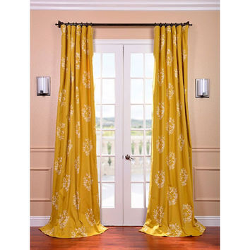 Half Price Drapes PRTW-D-11-120 Isles Mustard Printed Cotton Curtain 50 x 120 - (In 50 x 120)