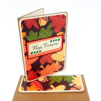 CLEARANCE-Thanksgiving Leaves Card with Matching Embellished Envelope