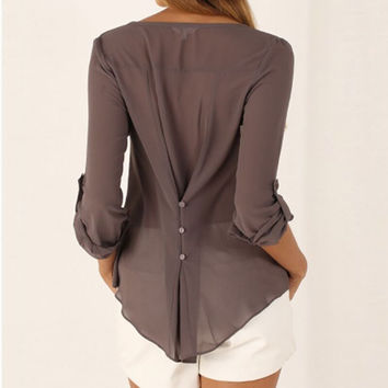 Sexy V Neck Long Sleeve Shirts Women 2016 New Brand Summer Casual Chiffon Blouses Ladies Plus Size Tops