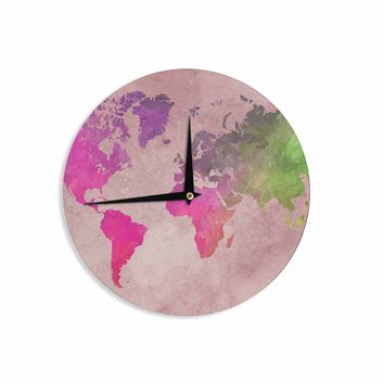 "Justyna Jaszke ""World Map 1"" Red Green Digital Wall Clock"