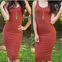 Cleo Nina Ribbed Dress - Rust