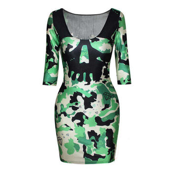 Camo Skull Women's Colorful Plaid Printed Crew Neck Bodycon Dress DR-11
