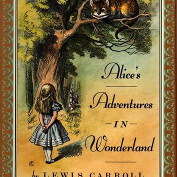 Lewis Carroll Alice in Wonderland Book Cover Locket Necklace keyring silver & Bronze tone B1027