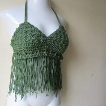 Crochet Fringe halter top,  forest green, bikini top, gypsy, boho bohemian, summer top, 70's top