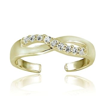 Gold Tone over Sterling Silver Cubic Zirconia Infinity Toe Ring