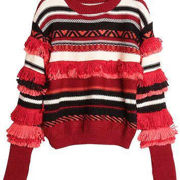 Red Contrast Stripe Tassel Trim Knit Sweater