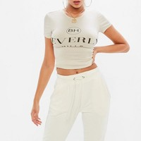 Missguided - Beige Beverly Hills T-shirt