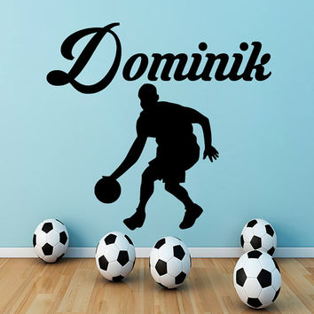 Wall Decals Personalized Name Decal Vinyl Sticker Athlete Decor Sports Hall Home Interior Bedroom Gym Sport School Window Art Murals MN465
