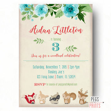 Woodland Birthday Invitation // Woodland Birthday Party // Forest Animal Birthday // Fox Birthday Invitation // Forest Creatures // Floral