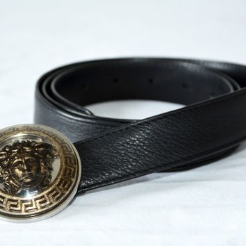 Authentic VERSACE CLASSIC MEDUSA LEATHER BELT for Men retail 105cm 42""