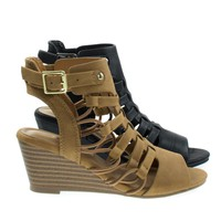 Awhile2 Tan By Soda, Little Girl's Elastic Fisherman Gladiator Cage Sandal On Stack Wedge