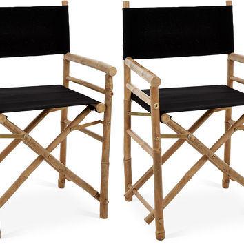 Black Director's Chairs, Pair, Outdoor Dining Chairs