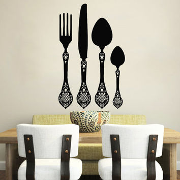 Wall Decal Vinyl Sticker Decals Knife Fork Spoon Vintage Pattern Cutlery Cafe Kitchen Decor Dining Room