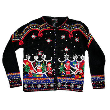Santas With Lots of Embroidery Tacky Ugly Christmas Sweater - The Ugly Sweater Shop