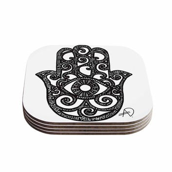 "Adriana De Leon ""Hamsa Hand"" Black White Coasters (Set of 4)"