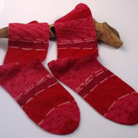 Ready to ship. Womens / mens  / teenager hand knitted bamboo socks. Red stripes unisex.  UK 6, US 7 1/2, EU 40