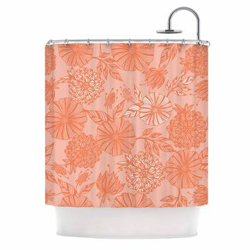 "Julia Grifol ""Romantic Garden"" Coral Floral Vector Shower Curtain"