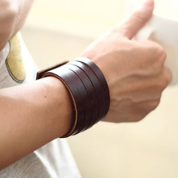 Dark Brown Leather Cuff, Mens Bracelet, Womens Bracelet, Leather Bracelet