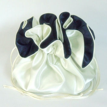 Wedding Bag  Satin Bridal Money Purse  Ivory and Navy  No Pockets
