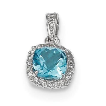 Sterling Silver Cushion Blue Topaz & Created White Sapphire Pendant
