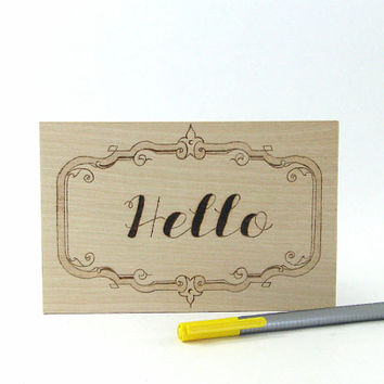 Hello Postcard - Wood Pyrography - Snail Mail Postcard