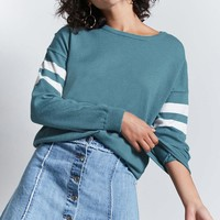 Stripe-Sleeve Sweater