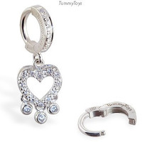 Tummy Toys Belly Button / Body Jewelry --- CZ Heart with Bezel Drops on Cz Clasp --- 63012