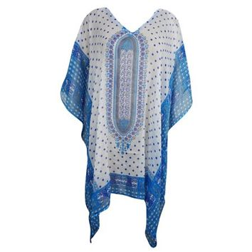 Mogul Lightweight Caftan Dress Blue White Dashiki Print Kimono Sleeves Beach Cover Up Resort Wear ONE SIZE - Walmart.com