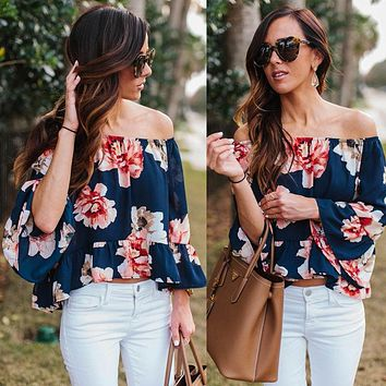 Fashion New Women Lady Clothes Yops Off Shoulder Casual Blouse Flower Clothing Summer Tops Beach S-XL
