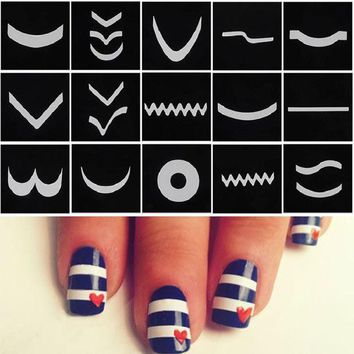 18 Sheet/set French Manicure Nail Art Tape Stickers Diy Stencil Nail Patterns Decals For Nails Art Decorations Stickers Strip