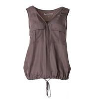 Trina Turk Womens Silk Textured Casual Vest