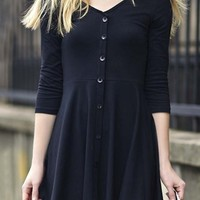 Simple Fashion V-Neck Half Sleeve Button Through A-Line Mini Dress