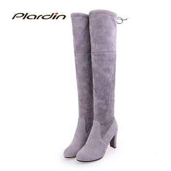 plardin New Winter plus size Women Concise Leisure Fashion Butterfly-knot Lace-Up Pointed Toe riding Shoes Woman Boots Suede