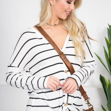 Harley Striped Knot Top | White