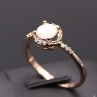 Cassie White Fire Opal Ring