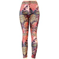 Paisley Print Winter Warm Leggings Muliticolor