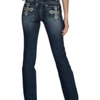 Miss Me Medium Wash Cross with Sequins and Studs Open Pockets Boot Cut Relaxed Fit Jeans - Extended Sizes