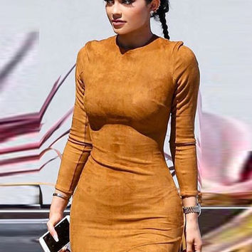 Camel Supa Bodycon Dress