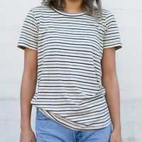 W Yarn Dyed Stripe SS Tee