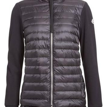 Moncler 'Maglia' Flutter Hem Mixed Media Down Jacket | Nordstrom
