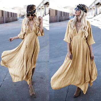 2018 Women yellow Half Sleeve Sexy Deep V-neck Empire Waist Autumn Loose Bohemia Maxi Dresses Casual Solid Color Long Dress