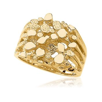 Men's Extra Large 14K Yellow Gold Nugget Ring