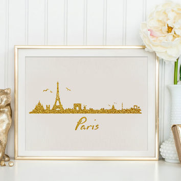 Eiffel Tower Print Gold Paris Print France French Glitter Instant Download Printable Home Decor Sparkle Travel Art PARIS CITY Gold Glitter